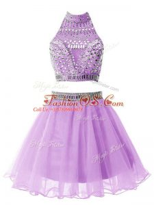 Clearance Lilac A-line High-neck Sleeveless Organza Knee Length Zipper Beading Bridesmaid Gown