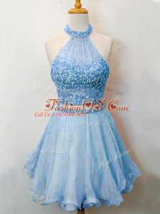 Luxury Blue Bridesmaid Gown Prom and Party and Wedding Party with Beading Halter Top Sleeveless Lace Up