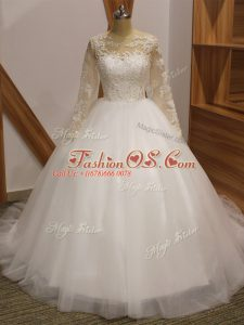 White Ball Gowns Scoop Long Sleeves Tulle Brush Train Clasp Handle Lace Wedding Dress