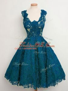 Unique Teal Lace Up Court Dresses for Sweet 16 Lace Sleeveless Knee Length