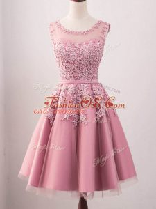 Suitable Pink Scoop Neckline Lace Wedding Party Dress Sleeveless Lace Up