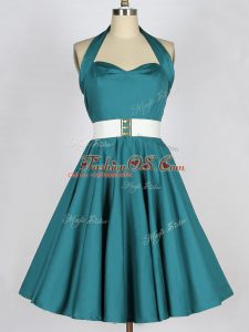 Fashionable Teal Sleeveless Taffeta Lace Up Vestidos de Damas for Prom and Party and Wedding Party