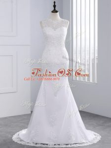 White Sleeveless Brush Train Beading and Appliques Wedding Gown