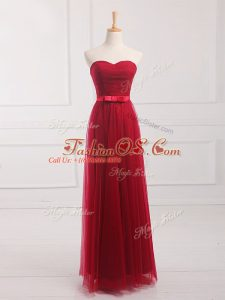 Romantic Wine Red Lace Up Sweetheart Belt Bridesmaid Dresses Tulle and Lace Sleeveless