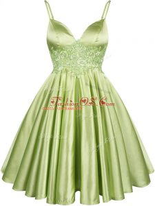Sleeveless Elastic Woven Satin Knee Length Lace Up Dama Dress for Quinceanera in Yellow Green with Lace