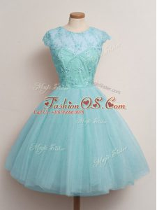 Aqua Blue Cap Sleeves Tulle Lace Up Bridesmaids Dress for Prom and Party and Wedding Party