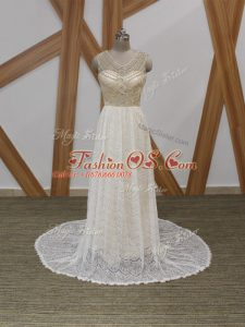 Glittering White Sleeveless Beading and Lace Side Zipper Bridal Gown