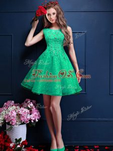 Sophisticated Apple Green A-line Bateau Sleeveless Tulle Knee Length Lace Up Lace and Appliques Wedding Guest Dresses