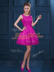 Glorious Fuchsia Tulle Zipper Bridesmaid Dress Sleeveless Knee Length Lace and Ruffled Layers