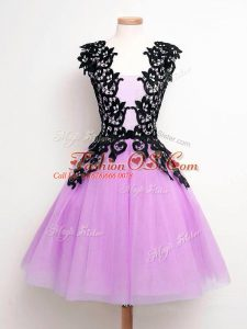 Edgy Lilac Sleeveless Tulle Lace Up Bridesmaid Dress for Prom and Party and Wedding Party