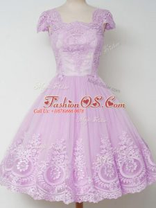Cap Sleeves Knee Length Lace Zipper Quinceanera Court Dresses with Lilac
