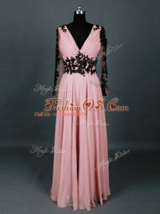 Pretty Floor Length Pink Mother Of The Bride Dress V-neck Long Sleeves Zipper