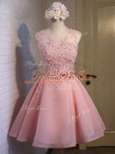 Fashionable Pink Scoop Neckline Lace Dama Dress for Quinceanera Sleeveless Lace Up