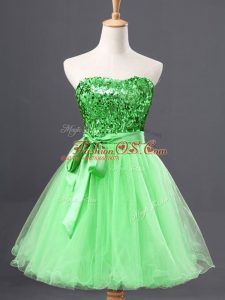 Beautiful Sleeveless Tulle Mini Length Zipper Party Dress Wholesale in with Sequins