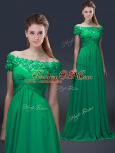 Gorgeous Off The Shoulder Short Sleeves Mother Of The Bride Dress Floor Length Appliques Green Chiffon