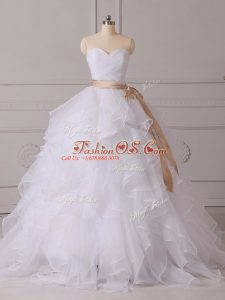 Pretty White Sweetheart Lace Up Beading and Ruffles and Sashes ribbons Wedding Dresses Brush Train Sleeveless