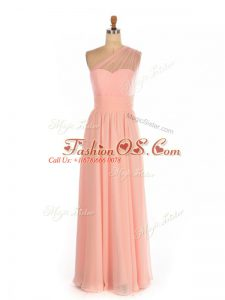 Latest Empire Bridesmaid Dress Peach One Shoulder Chiffon Sleeveless Floor Length Side Zipper