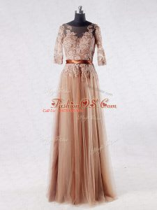 Lace and Appliques Mother Of The Bride Dress Brown Zipper Half Sleeves Floor Length