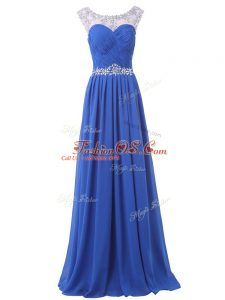 Super Blue Prom Dresses Prom and Party with Beading Scoop Sleeveless Sweep Train Side Zipper