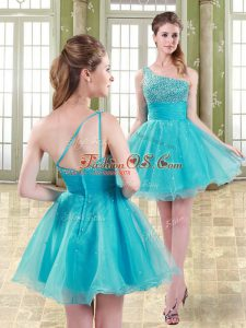 Beautiful Mini Length Zipper Prom Dress Aqua Blue for Prom and Party and Sweet 16 with Beading
