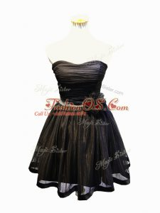 Super Sleeveless Mini Length Ruching and Bowknot and Hand Made Flower Lace Up Prom Gown with Black