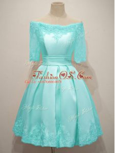 Top Selling Half Sleeves Knee Length Lace Lace Up Bridesmaid Dress with Aqua Blue