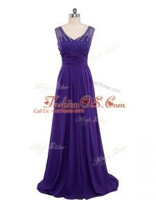 Chiffon V-neck Sleeveless Side Zipper Beading and Ruching Prom Party Dress in Purple