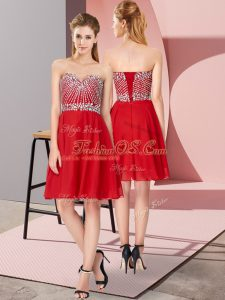 Fashionable Knee Length Lace Up Cocktail Dresses Red for Prom and Party and Sweet 16 with Beading