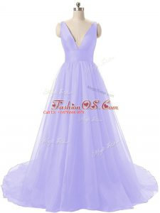 Lavender A-line Ruching Ball Gown Prom Dress Backless Organza Sleeveless