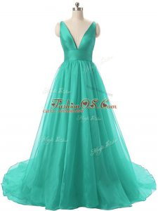 Turquoise Backless Military Ball Dresses Ruching Sleeveless Brush Train