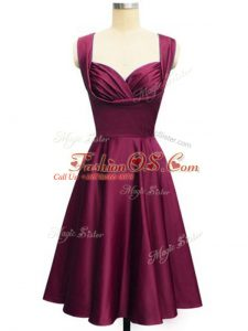 Straps Sleeveless Lace Up Bridesmaid Dress Burgundy Taffeta