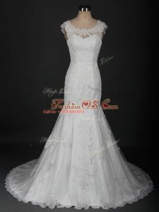 Colorful White Sleeveless Brush Train Beading and Lace Wedding Gown