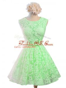 Sumptuous Green Sleeveless Knee Length Belt Lace Up Court Dresses for Sweet 16