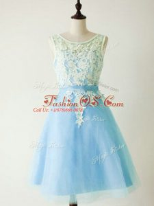 Fantastic Knee Length Lace Up Wedding Guest Dresses Light Blue for Prom and Party and Wedding Party with Lace