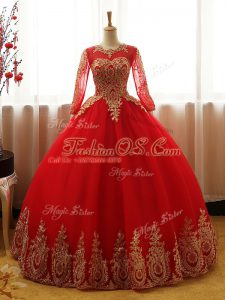 Stylish Red Lace Up Scoop Appliques Quinceanera Dress Organza Long Sleeves