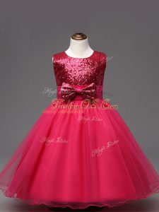 Hot Pink Zipper Scoop Sequins and Bowknot Little Girl Pageant Gowns Organza Sleeveless