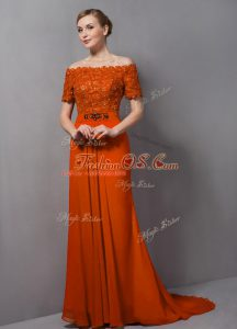 Short Sleeves Chiffon Sweep Train Zipper Mother Of The Bride Dress in Orange with Lace
