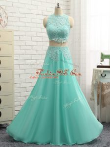 Flirting Apple Green Side Zipper High-neck Appliques Teens Party Dress Chiffon Sleeveless