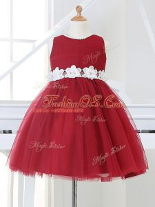 Custom Made Knee Length Ball Gowns Sleeveless Wine Red Pageant Gowns For Girls Zipper