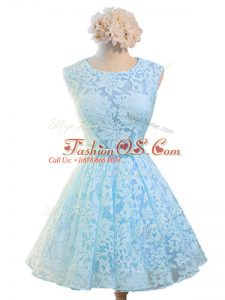 A-line Wedding Guest Dresses Light Blue Scoop Lace Sleeveless Knee Length Lace Up