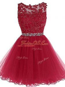 Burgundy Dress for Prom Prom and Party and Sweet 16 with Beading and Lace and Appliques Sweetheart Sleeveless Zipper