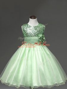 Apple Green Girls Pageant Dresses Wedding Party with Sequins and Hand Made Flower Scoop Sleeveless Zipper