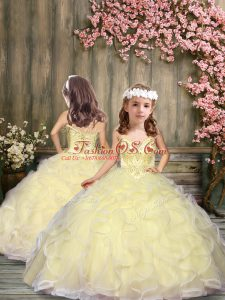 Sleeveless Tulle Floor Length Lace Up Pageant Gowns For Girls in Light Yellow with Beading and Ruffles