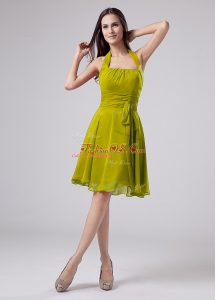 Exceptional Halter Top Sleeveless Zipper Mother Of The Bride Dress Olive Green Chiffon
