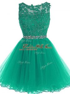 Nice Beading and Lace and Appliques and Belt Homecoming Dress Green Zipper Sleeveless Mini Length