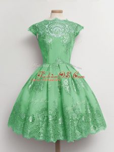 Super Green A-line Tulle Scalloped Cap Sleeves Lace Knee Length Lace Up Wedding Party Dress