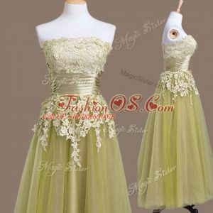Strapless Sleeveless Lace Up Bridesmaid Dresses Olive Green Tulle
