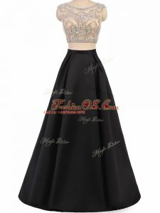 Black Sleeveless Beading Floor Length Military Ball Gowns