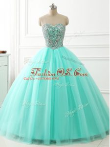 Suitable Apple Green Sweetheart Lace Up Beading 15 Quinceanera Dress Sleeveless