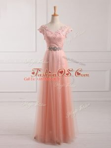 Short Sleeves Tulle and Lace Floor Length Lace Up Mother Of The Bride Dress in Peach with Beading and Lace and Appliques